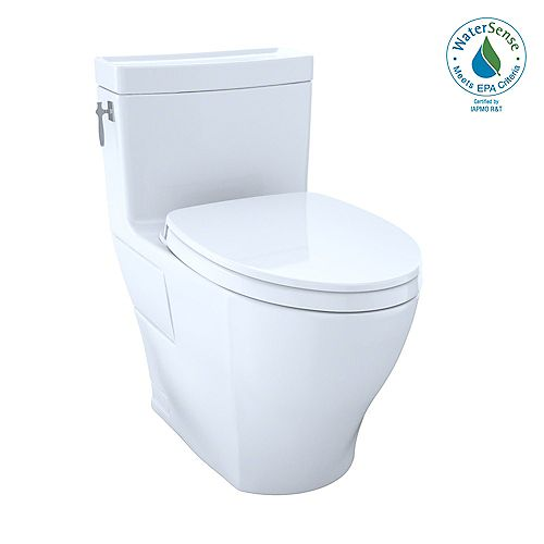 Aimes WASHLET+ 1-Piece Elongated 1.28 GPF Universal Height Toilet with CeFiONtect, Cotton White