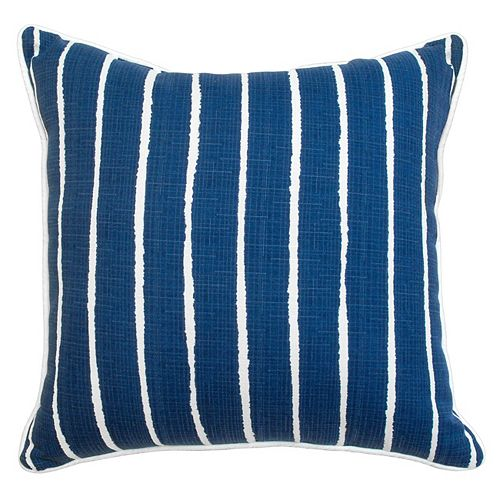 Toss Cushion solid blue with white stripe