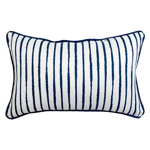 Toss Cushion solid white with blue stripe