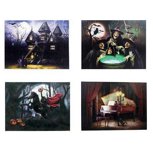 20-inch Halloween Scene LED Canvas with Sound