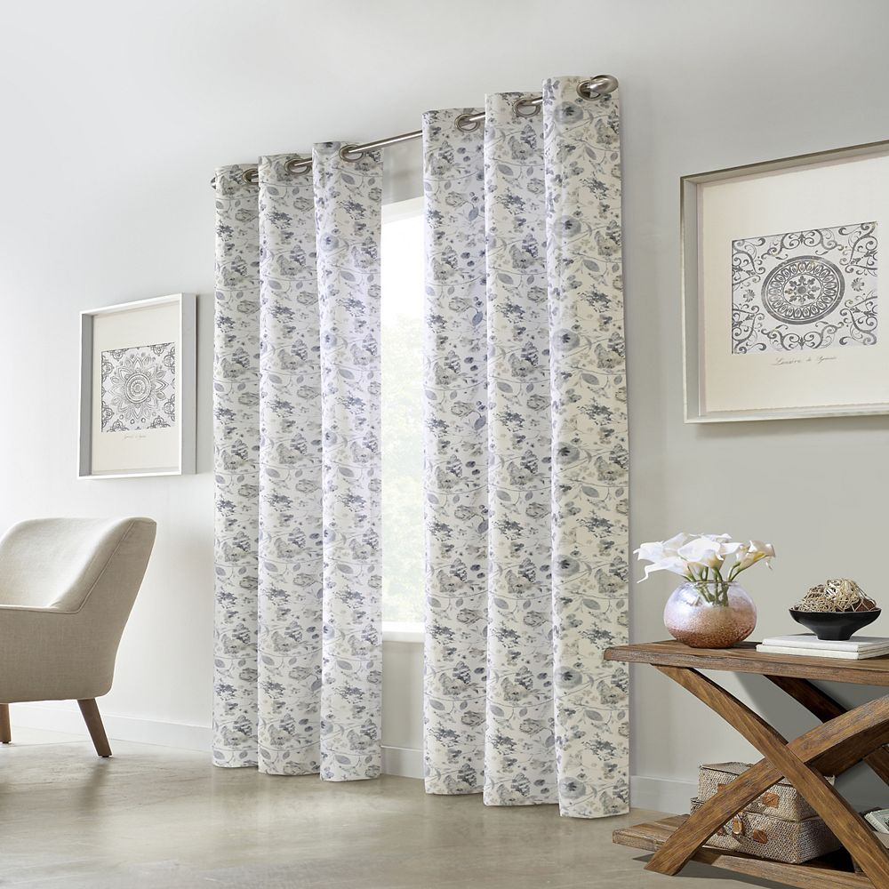 "Home Decorators Collection Moody Floral Room Darkening Grommet Curtain Panel - 40"" W x 108"" L in Silver"
