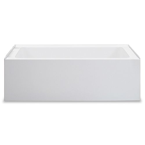 Zen Builder 66 inch White Alcove Tub Right Drain with Tile Flange and Integrated Skirt
