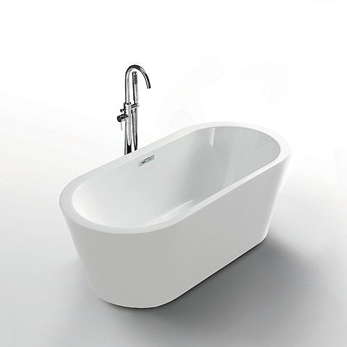 Serenity White 62 inch Seamless 1-Piece White Freestanding Tub
