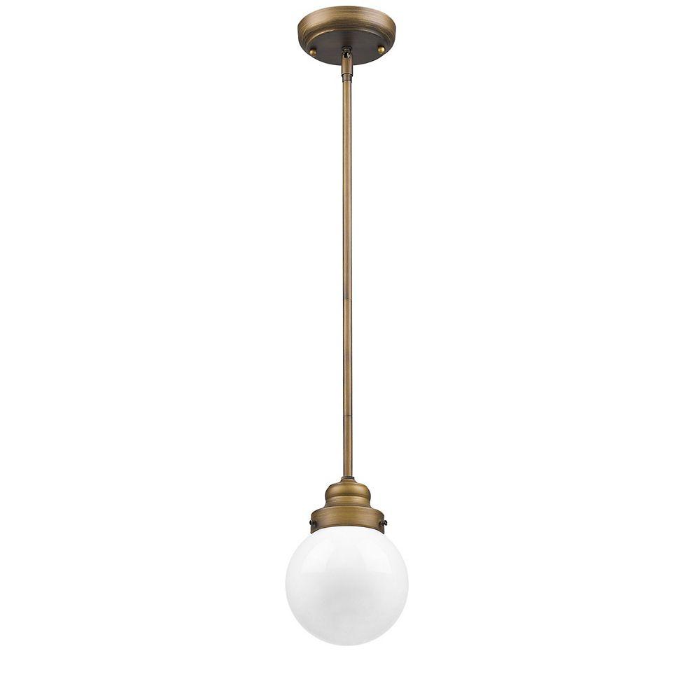 Acclaim Portsmith suspendu simple 1 lumière.  An Opal glass globe hanging on a brass arm down.