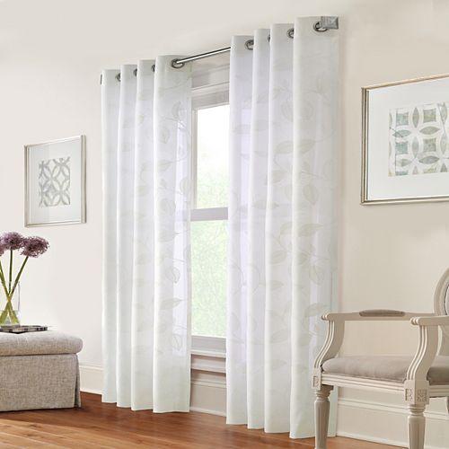 Muirfield feuilles brodées sur rideau en faux lin à illets 132 cm x 160 cm en couleur Blanc