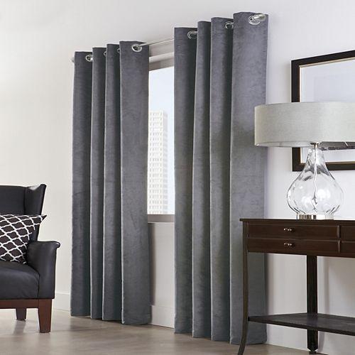 Home Decorators Collection Navar rideau occultant faux suède à oeillets économie d'énergie 137 cm x 241 cm couleur gris foncé