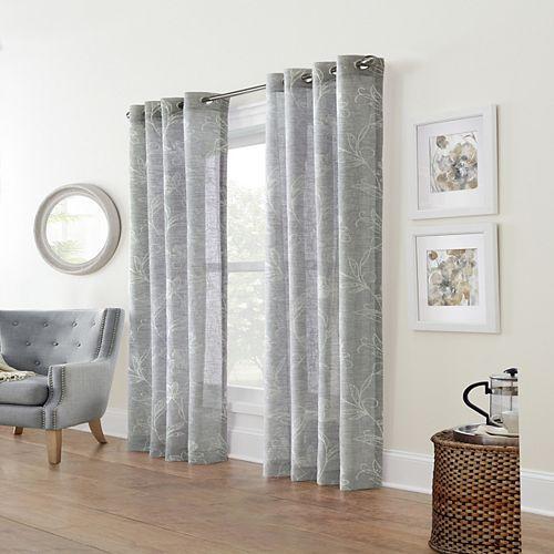 Home Decorators Collection Augusta rideau faux Linen diaphane à oeillets 132 cm x 274 cm couleur argent