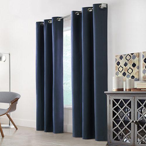 Home Decorators Collection Hillsdale rideau occultant imprimé texturé à oeillet envers en mousse 101 cm x 274 cm couleur bleu