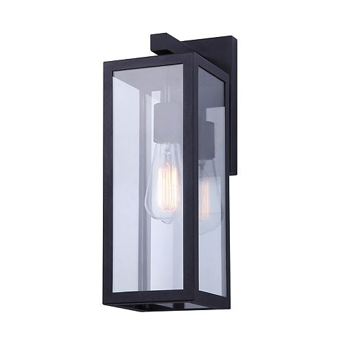 "MONTANA 16""H 1-light black outdoor wall light with clear glass panels"