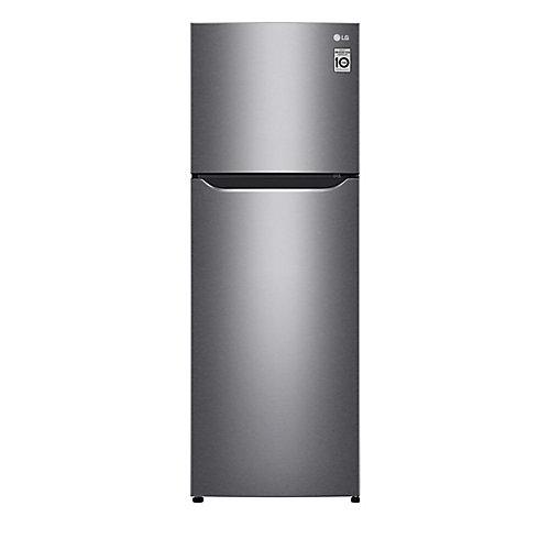 Réfrigérateur à congélateur supérieur, 8 pi³, 22 po, profondeur de comptoir, argent platine
