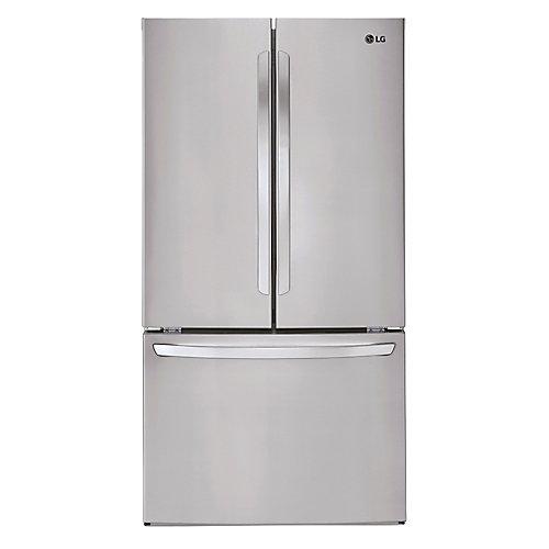 Réfrigérateur à deux battants Energy Star, 29pi³, 36 po, acier inoxydable résistant aux empreintes