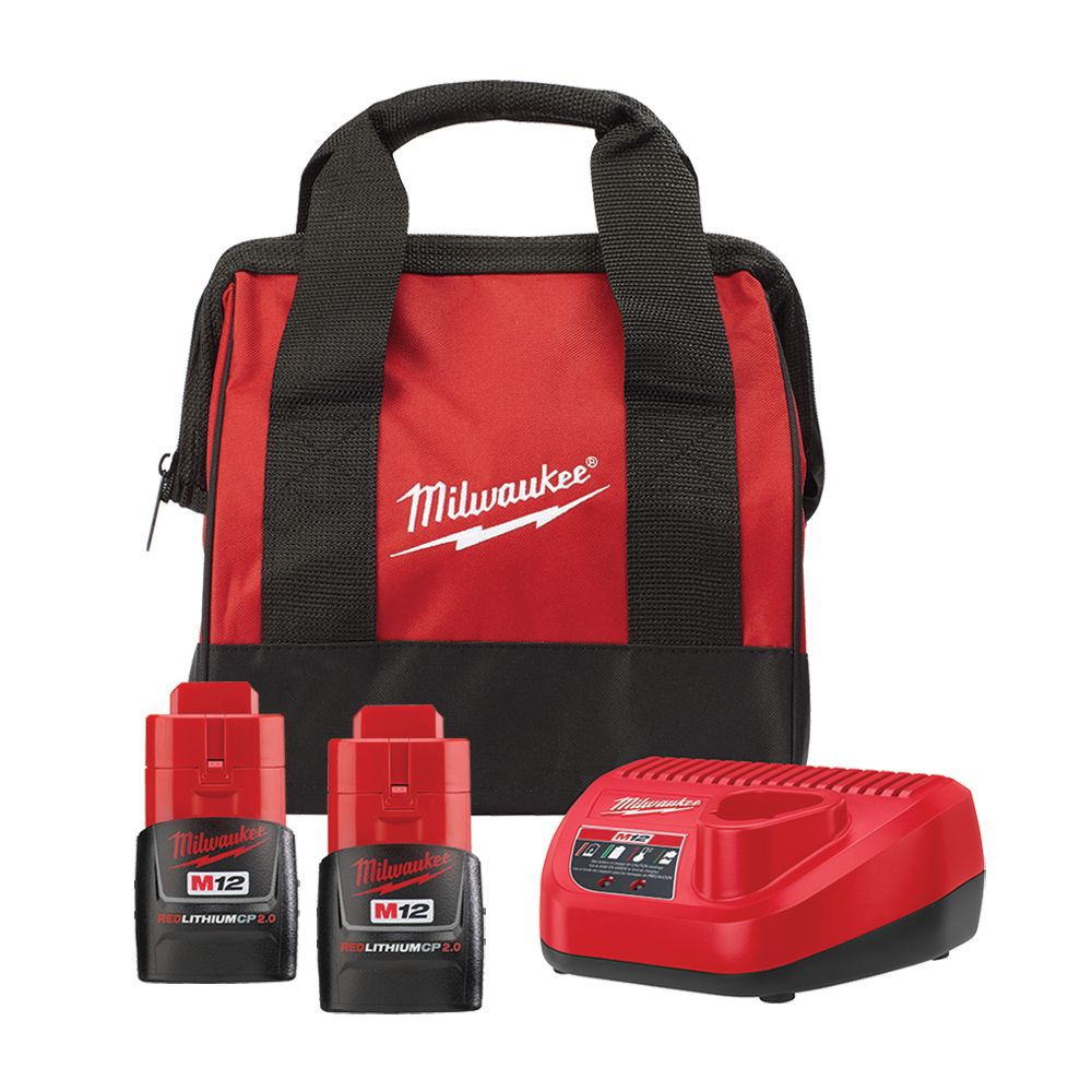 M12 12V Lithium-Ion Starter Kit with (2) 2.0Ah CP Battery Packs, Charger & Bag