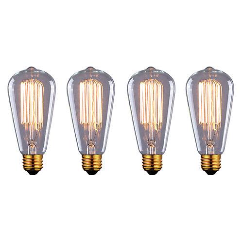 Ampoule à filament vintage 60W dans un quatre paquet