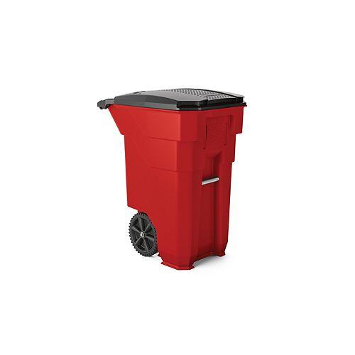 Poubelle en plastique rouge de 50 gal. avec roulettes et couvercle pour collecte mécanique
