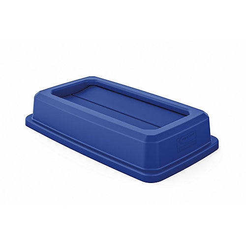 Resin Slim Blue Double Flip Trash Can Lid