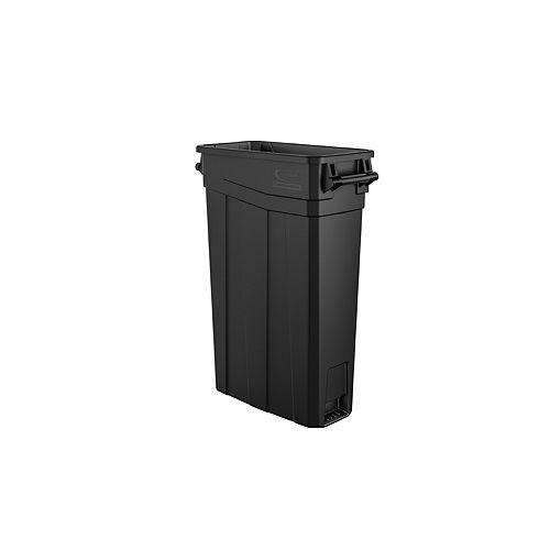 Poubelle étroite en plastique noir à poignées de 23 gallons
