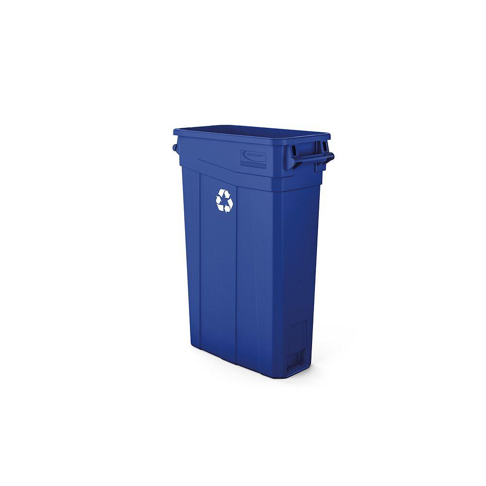 Suncast Poubelle étroite en plastique bleu à poignées de 23 gallons