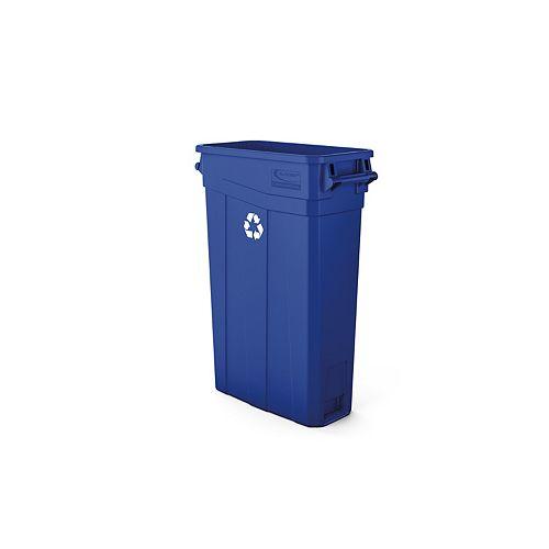 Poubelle étroite en plastique bleu à poignées de 23 gallons