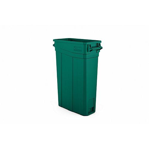 Poubelle étroite en plastique vert à poignées de 23 gallons