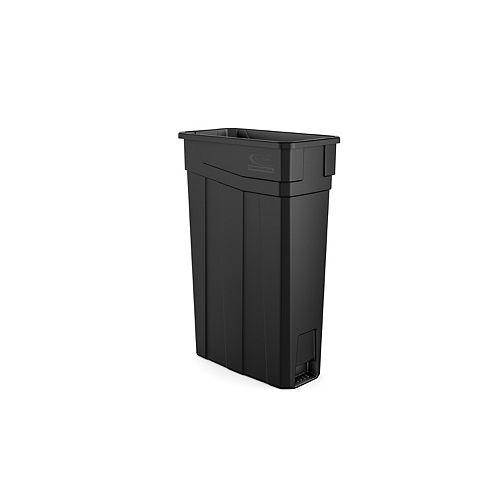 Poubelle étroite en plastique vert de 23 gallons - noir