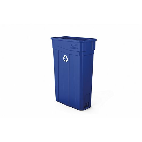 Poubelle étroite en plastique bleu de 23 gallons - bleu