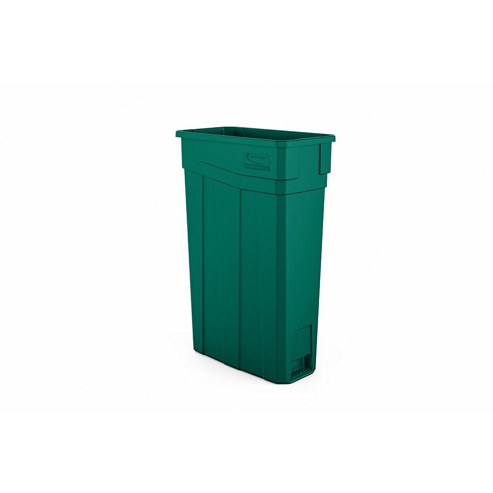 Suncast Poubelle étroite en plastique vert de 23 gallons