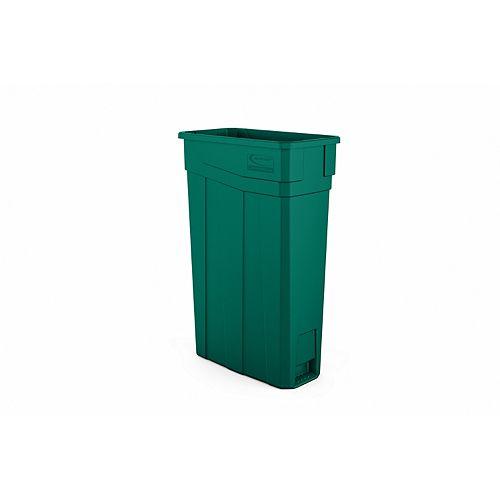Poubelle étroite en plastique vert de 23 gallons