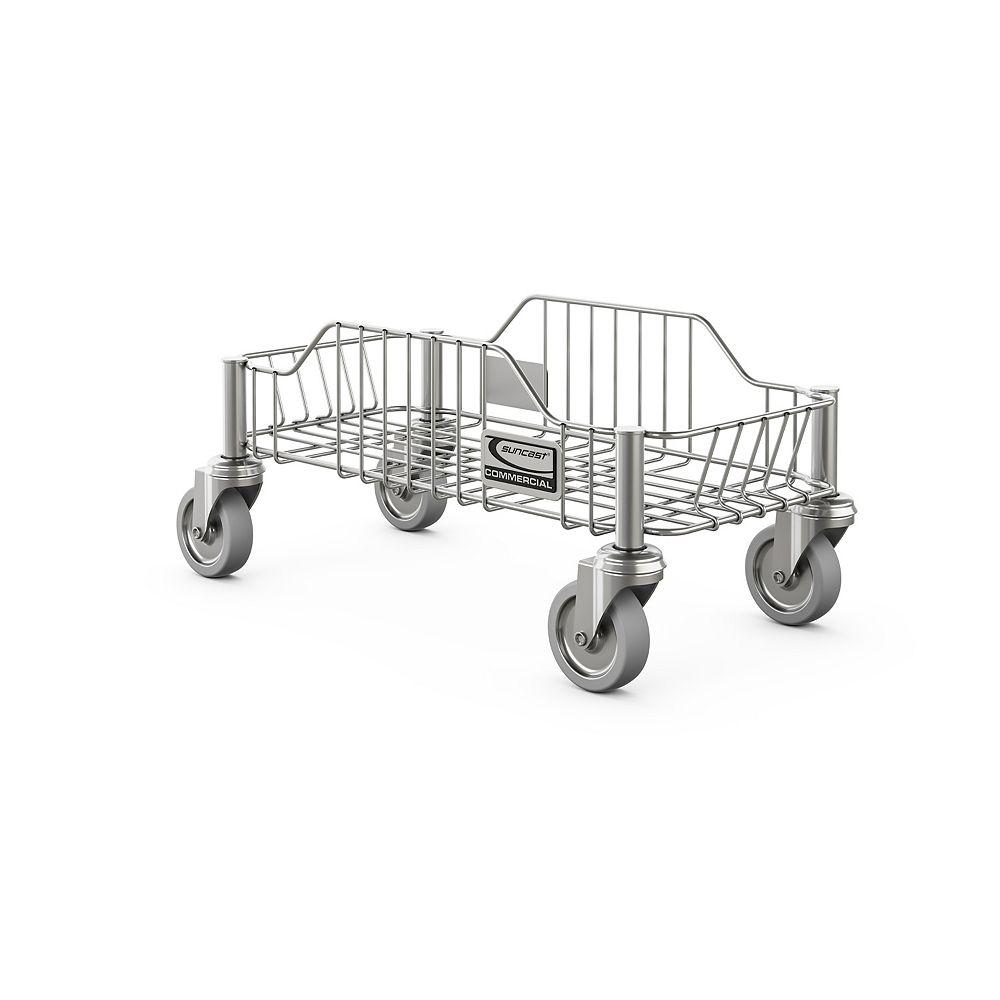Suncast Chariot à roulettes en acier inoxydable pour poubelle ronde