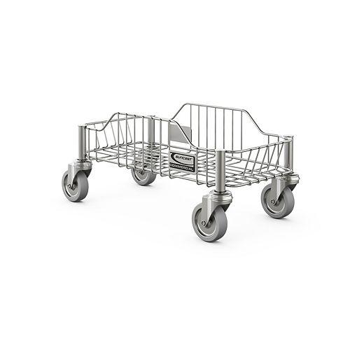 Chariot à roulettes en acier inoxydable pour poubelle ronde