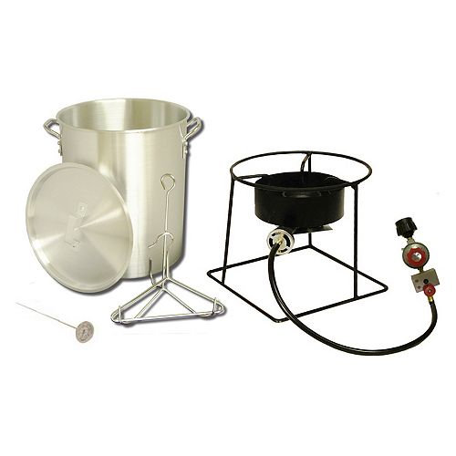 Propane Turkey Fryer Package with 27L (29 Qt.) Aluminum Turkey Pot, Rack, and Hook