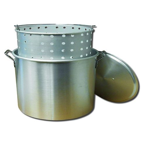 32 Qt. Aluminum Pot, Punched Basket, and Lid