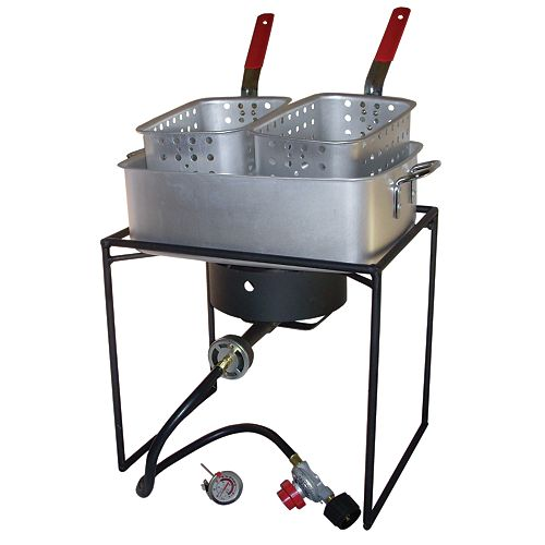 16-inch Double Basket Propane Fish Fryer Kit with Rectangular Aluminum Fry Pan