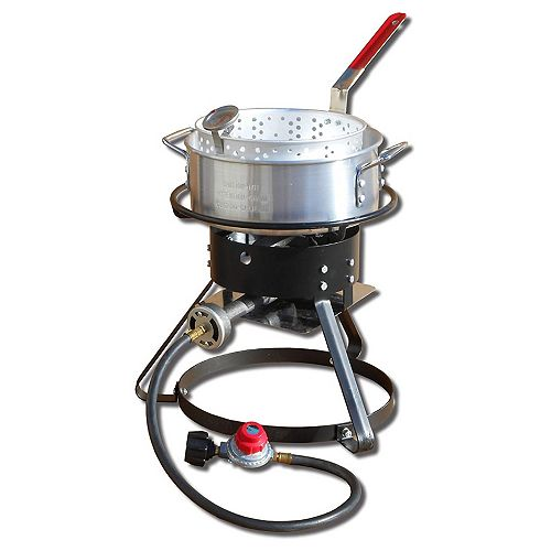 12-inch Tall Propane Fish Fryer Kit with 10 qt. Aluminum Fry Pan