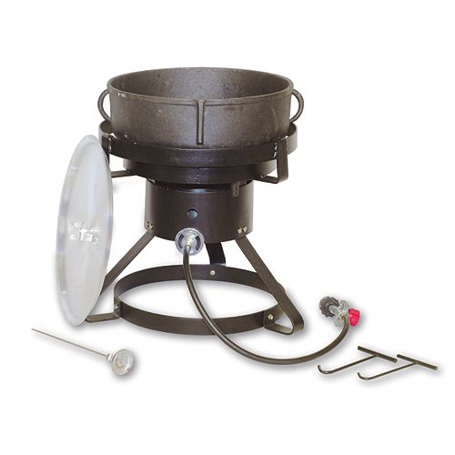 19L (5 Gal.) Cast Iron Pot with Aluminum Lid and Steel Propane Cooker Stand