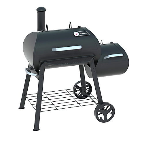 55 inch wide charcoal grill with offset firebox