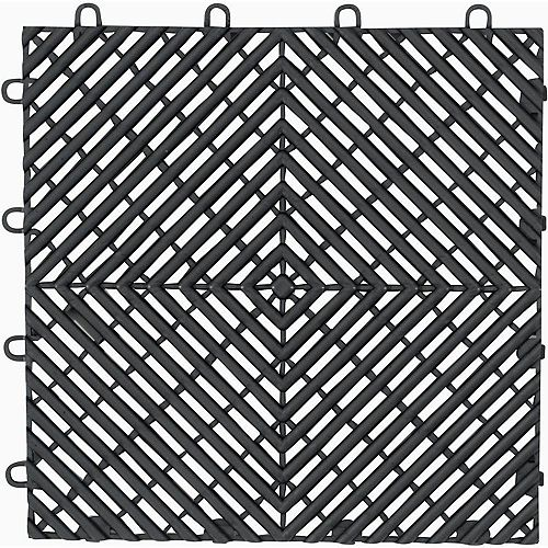 12-inch x 12-inch Charcoal Polypropylene Garage Flooring Drain Tile (4-Pack)
