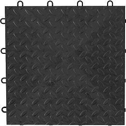 Carreaux de plancher de garage en polypropylène anthracite de 12 po x 12 po (paquet de 4)