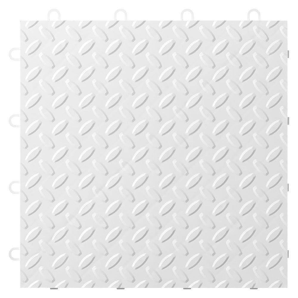 Gladiator Carreau de plancher de garage en polypropylène blanc de 12 po x 12 po (paquet de 24)