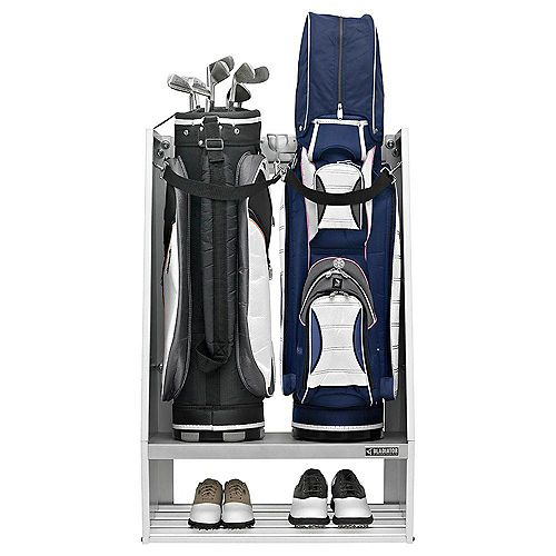Premier Series Welded Steel 2-Bag Golf Caddy Garage Wall Storage in White