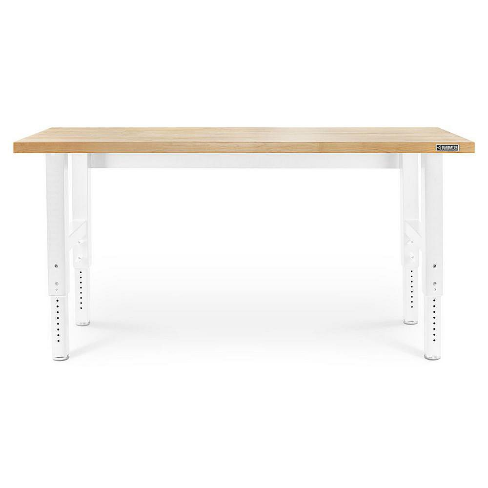 Gladiator 6 ft. Adjustable Height Workbench with Hardwood Top in White