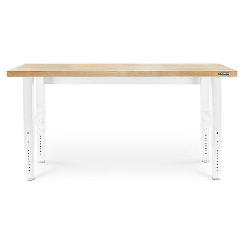 6 ft. Adjustable Height Workbench with Hardwood Top in White