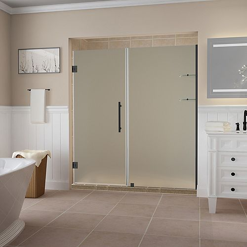Aston Belmore GS 68.25 -69.25 x 72 inch Frameless Hinged Shower Door, Frosted Glass & Shelves, Matte Black