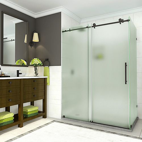 Aston Coraline 56 -60 x 33.875 x 76 inch Frameless Sliding Shower Enclosure w. Frosted Glass, Matte Black