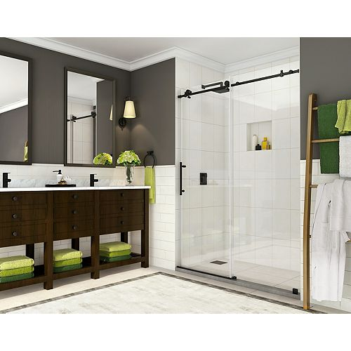 Coraline 44 inch to 48 inch x 76 inch Completely Frameless Sliding Shower Door, Matte Black