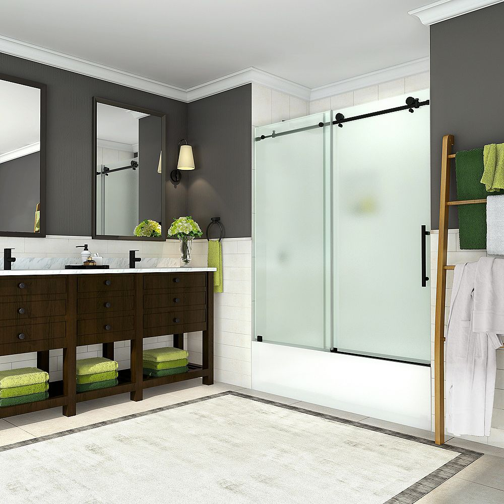 Aston Coraline 56 - 60 inch x 60 inch Completely Frameless Sliding Tub Door w. Frosted Glass, Matte Black