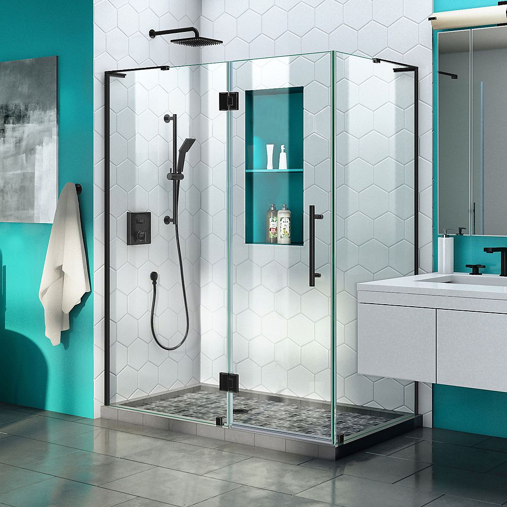 DreamLine Quatra Plus 34 inch D x 52 inch W Frameless Hinged Shower Enclosure in Satin Black