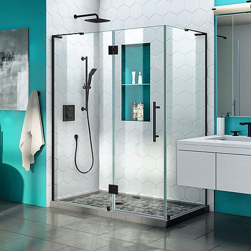 DreamLine Quatra Plus 34 inch D x 52 inch W Frameless Hinged Shower Enclosure in Satin Black