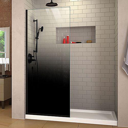Linea Ombre 34 inch W x 72 inch H Single Panel Frameless Shower Screen in Satin Black