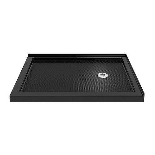DreamLine SlimLine 36 inch D x 54 inch W Right Drain Double Threshold Shower Base in Black