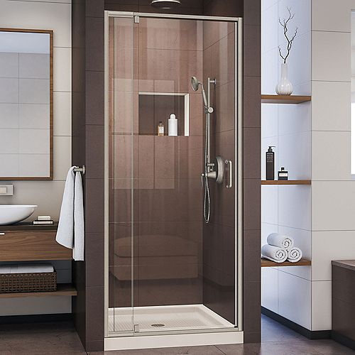 DreamLine Flex 32 inch D x 32 inch W Pivot Shower Door in Brushed Nickel and Center Drain Biscuit Base